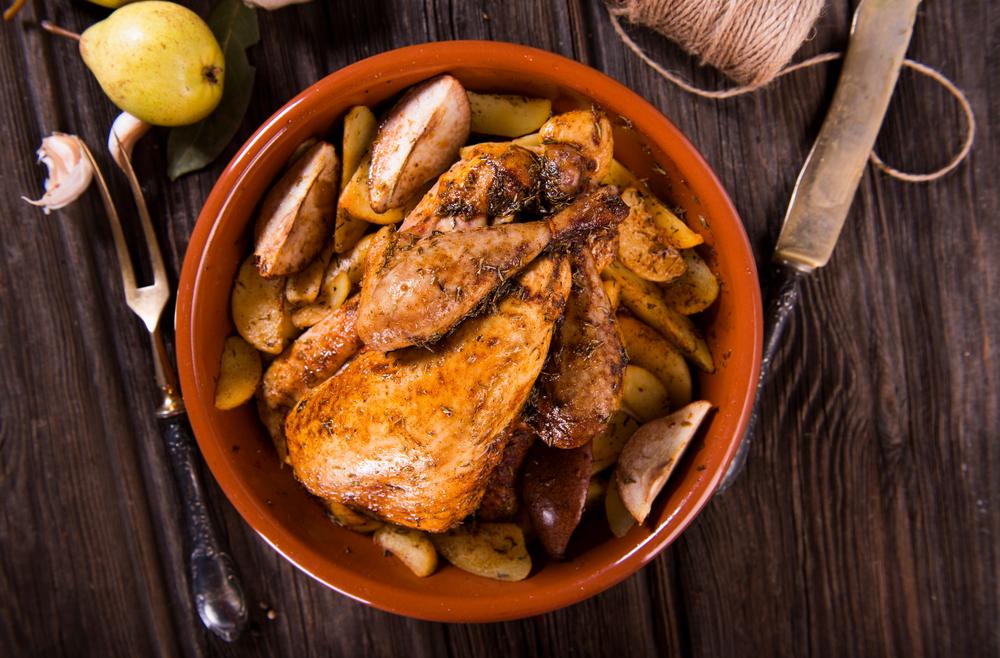 gallina de Guinea con pomelo